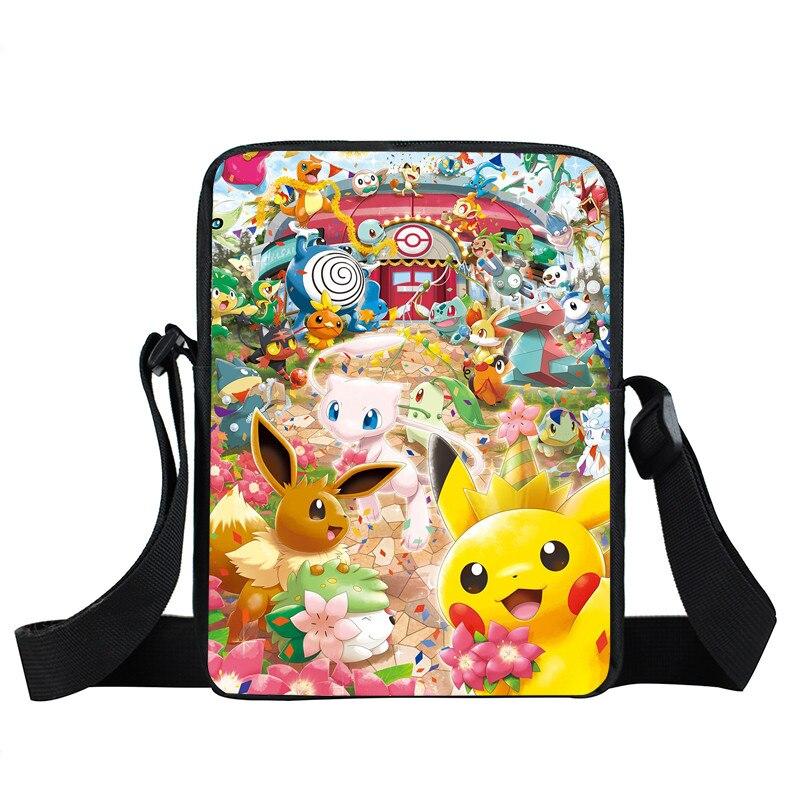 Anime Pokemon Mini Messenger Bag Cartoon Character Pikacun Daily Bag Boys Girls School Bags Children Bookbag Gift Bags For Kids