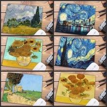 Mairuige Grote Promotie Van Gogh Gamer Speelmatten Rubber Art Speed Bloem Muismat Kleine Maat Voor 18X22cm Gaming Muismatten