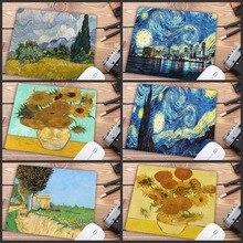 Mairuige grand tapis de souris de Gaming Van Gogh en caoutchouc, vitesse artistique, fleur, petite taille pour 18x22cm