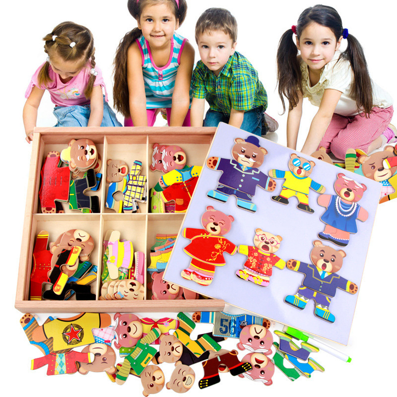Children's wooden magnetic puzzle six bears changing clothes dressing game three-dimensional DIY puzzle game cognitive puzzle