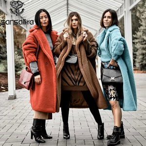 Image 2 - 100% Wool Coats Women Winter Teddy Coat Real Fur Female Jackets Long Luxury Brand Overcoats Ladies Warm Thick Outerwear Oversize