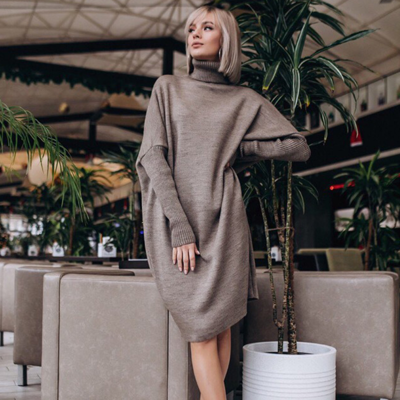 2019 New Fashion Winter Turtleneck Knitted Jumpers Women Sweater Casual Loose Long Batwing Sleeve Crocheted Pullovers Streetwear