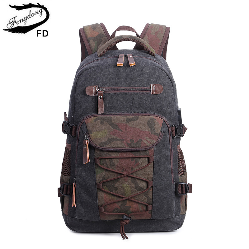 FengDong Student Vintage Drawstring Canvas Backpack School Bags For Teenage Boys Men Travel Laptop Backpack 15.6 Dropshipping