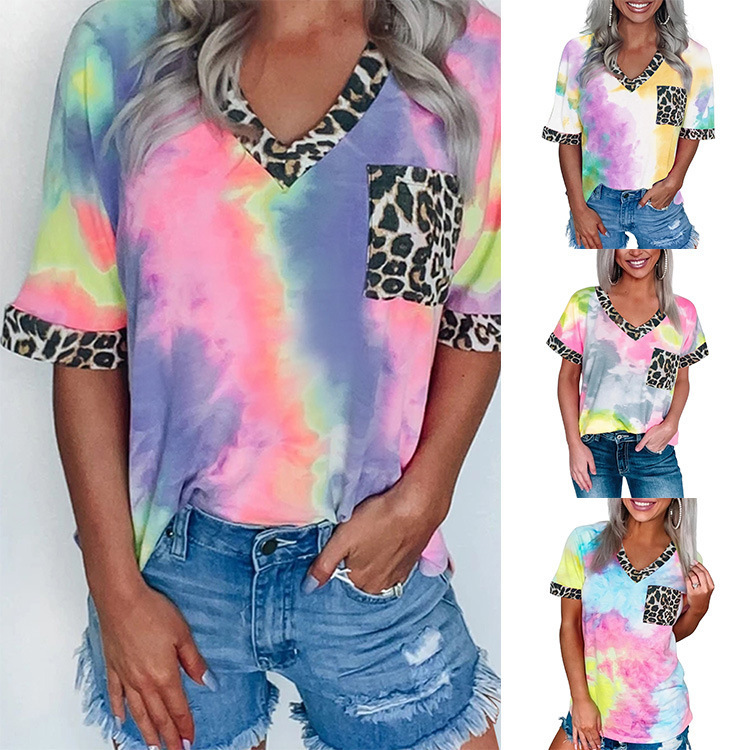 New Womens Tie-dye Rainbow Gradient Leopard Print Blouse T-shirt Shorts Sleeve Leopard Summer Tops for Women Graphic Tees Girl