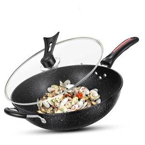 Wok антипригарная Бытовая кастрюля без дыма Maifan каменная железная сковорода газовая плита универсальная антипригарная сковорода кухонные к...