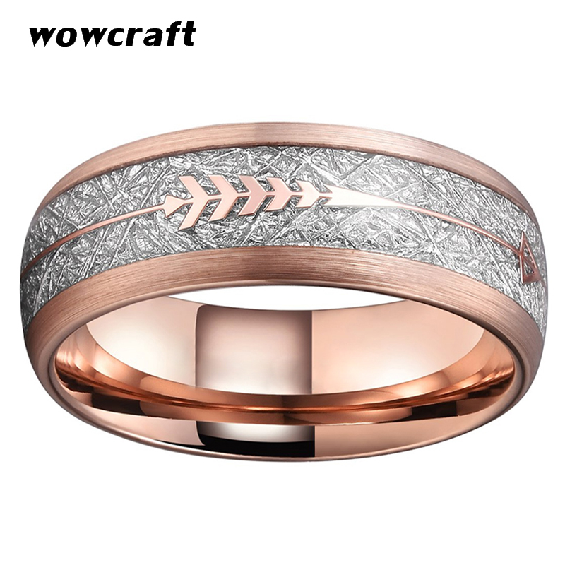Image 2 - 8mm Rose Gold Wedding Bands Tungsten Carbide Rings for Men Women Brushed Finish Domed Meteorite Arrow Inlay Comfort FitRings   -