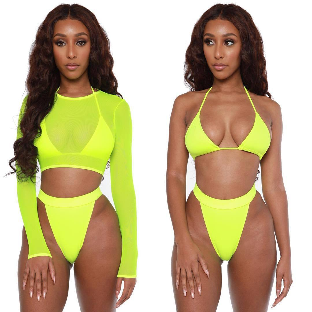 2020 Neon Yellow Crop Top Swimwear Women Summer Sexy Beachwear Mesh Long Sleeve Cover Ups Top Three Piece Swimsuit Bikini Set