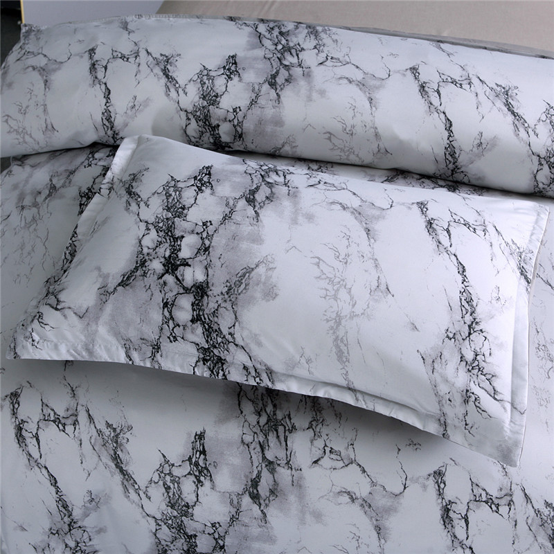 Simple Plain Color Marbling Quilt Cover Pillow Case Bedding Article AliExpress Three-piece Set