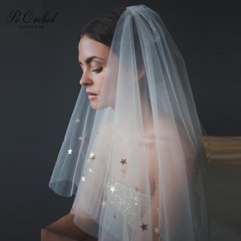 PEORCHID Ivory Gold Star Veil Bridal Accessoires Mariage Short Wedding Veil For Brides 2 Layer 2020 Voile De Mariee