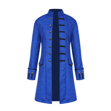 2019 Men Steampunk Double-breasted Jacket Mens Vintage Long Trench Coat Man Outwears Sleeves Victorian Top