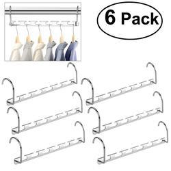 WINOMO 6pcs Multifunctional Magic Folding Cabinet Coat Hook Wardrobe Closet Bar Clothes Coat Hanger Organizer For Home(Silver)
