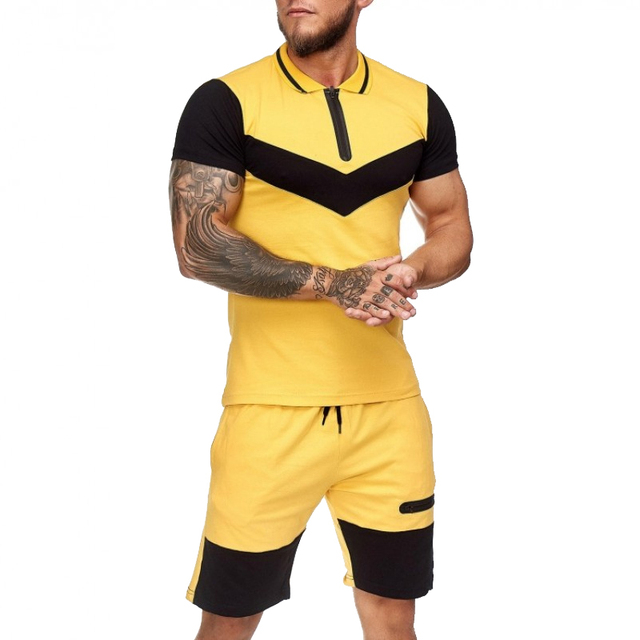 Summer Men Set Sportswear Short Sleeve + Casual Short 2 Piece Set  Thin Track Suits 2020 Mens Fitness Running Sport Sweat Suit 2