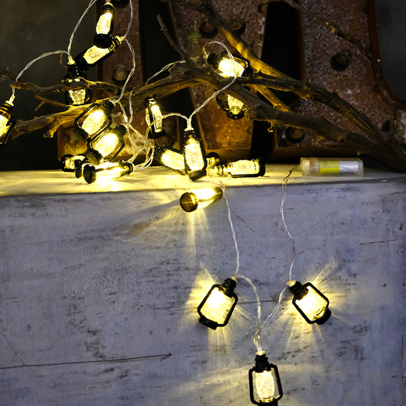 QYJSD For Home Christmas Ramadan Wedding Patio Outdoor Party Decoration LED Retro String Light Battery Plug USB Oil Garland Lamp in Lighting Strings from Lights Lighting