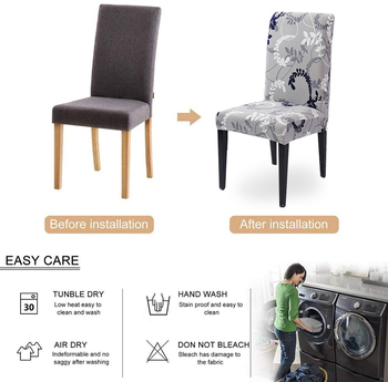 1/2/4/6Pc Removable Chair Covers For Dining Room 5 Chair And Sofa Covers