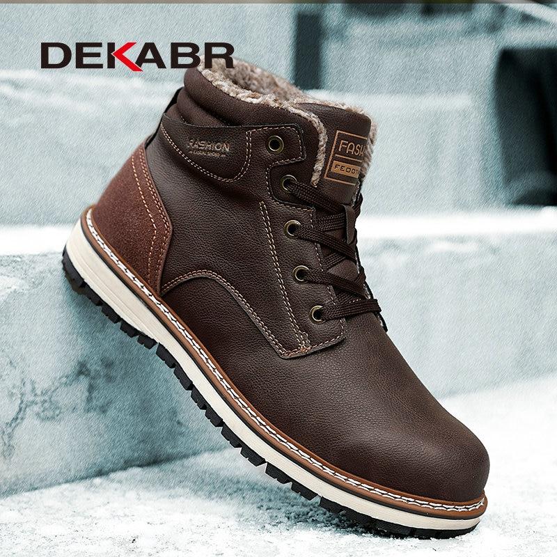 DEKABR/Новинка 2021 года; Зимние ботинки; Мужские ботинки с защитной и износостойкой подошвой; Теплые и удобные зимние прогулочные ботинки; Большие размеры 39 46|Зимние сапоги| | АлиЭкспресс