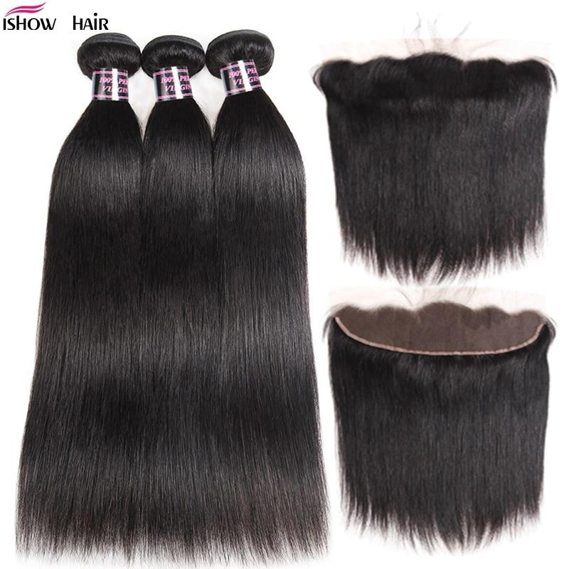 Перуанские пряди волос с фронтальными прямыми волосами, пряди с фронтальной застежкой, 3 пряди человеческих волос Ishow с фронтальной застежк...