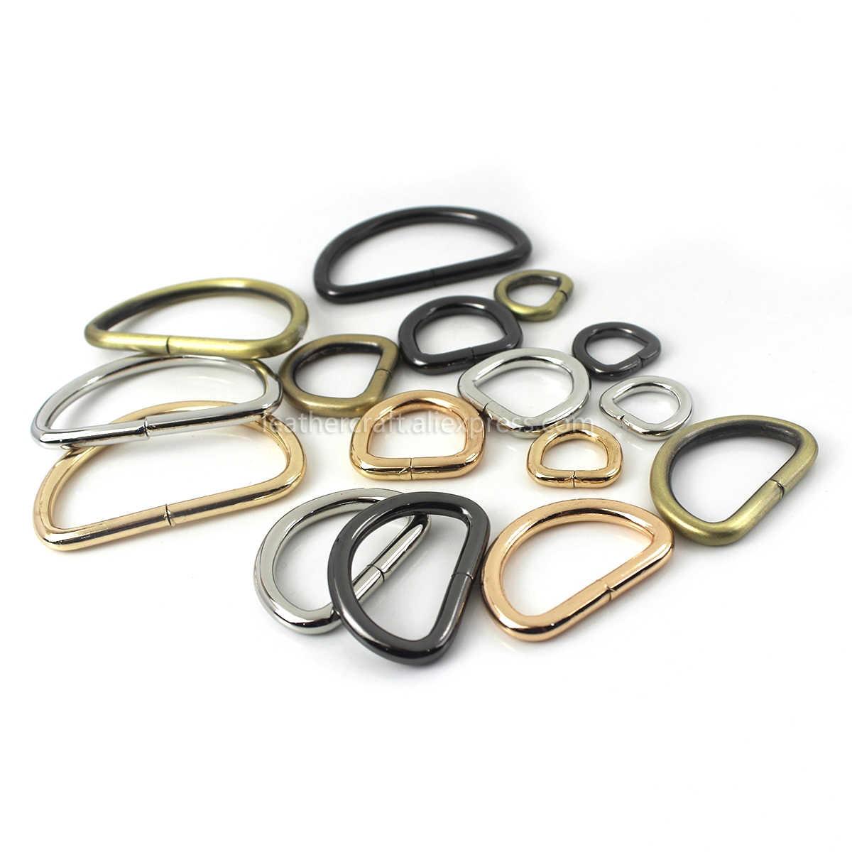"""1pcs 4/8 """"~ 2"""" די מתכת D טבעת אבזם לחגורה תרמיל תיק חלקי עור קרפט רצועה חגורת ארנק לחיות מחמד צווארון אבזם באיכות גבוהה"""