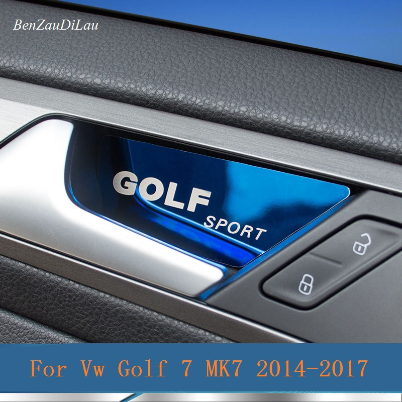 4 Pcs/Set Car Inner Door Handle Bowl Cover Sticker Car Decoration Accessories For Vw Golf 7 MK7 2014 - 2017