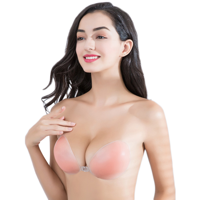 Women Silicone Adhesive Stick On Push Up Gel Strapless Invisible Bra Backless UK