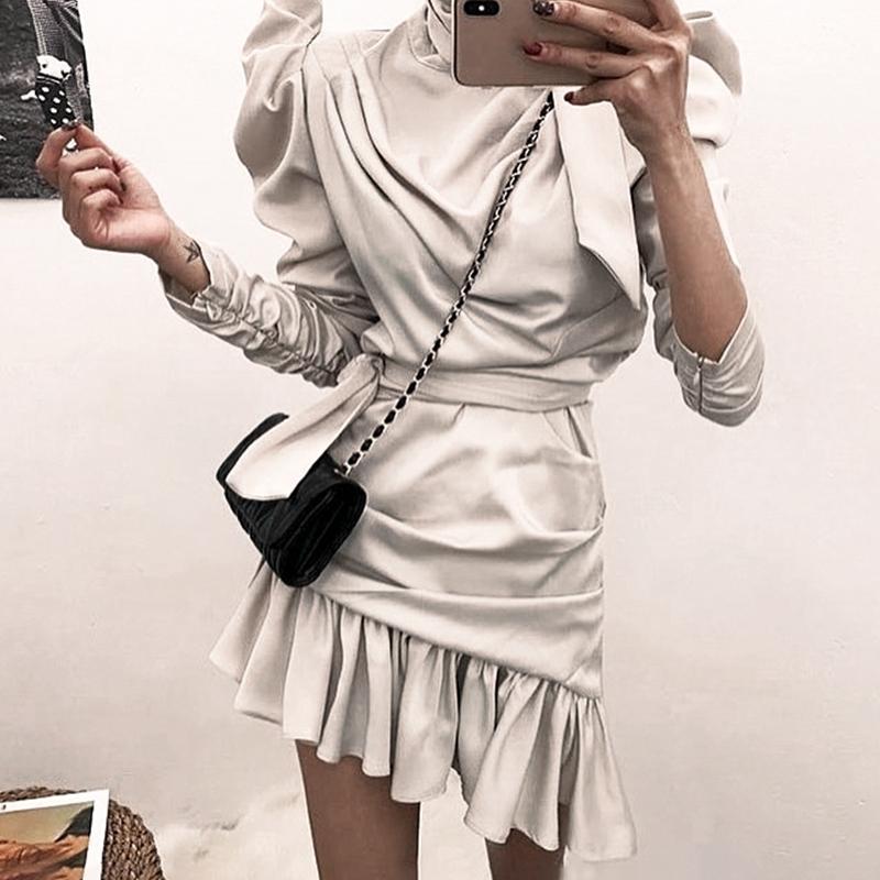 Aartiee Elegant Puff Sleeve Bodycon Dress Women 2019 Autumn Ruffle Vestidos Satin Irregular Collar Long Sleeve Female Dress New
