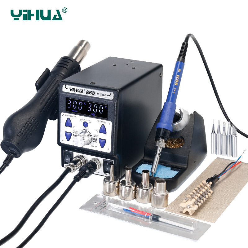 YIHUA 899D II Soldering Station 2 in 1 Rework Station 650W SMD Hot Air Gun 60W Solder Iron BGA Welding Desoldering Tool Stations title=