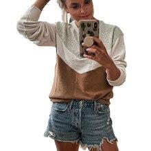 Women Hoodies Sweatshirts 2019 Autumn Winter Fashion Patchwork Geometric Pattern Long Sleeves Pullover Ladies Hoody Streetwear active animal pattern long sleeves christmas hoodies in white