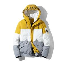 Winter Jacket Men FashionSplicing Bright Color Cotton Parkas Big Pockets Casual Jacket Thick Warm Hooded Outwear Coat M-4XL