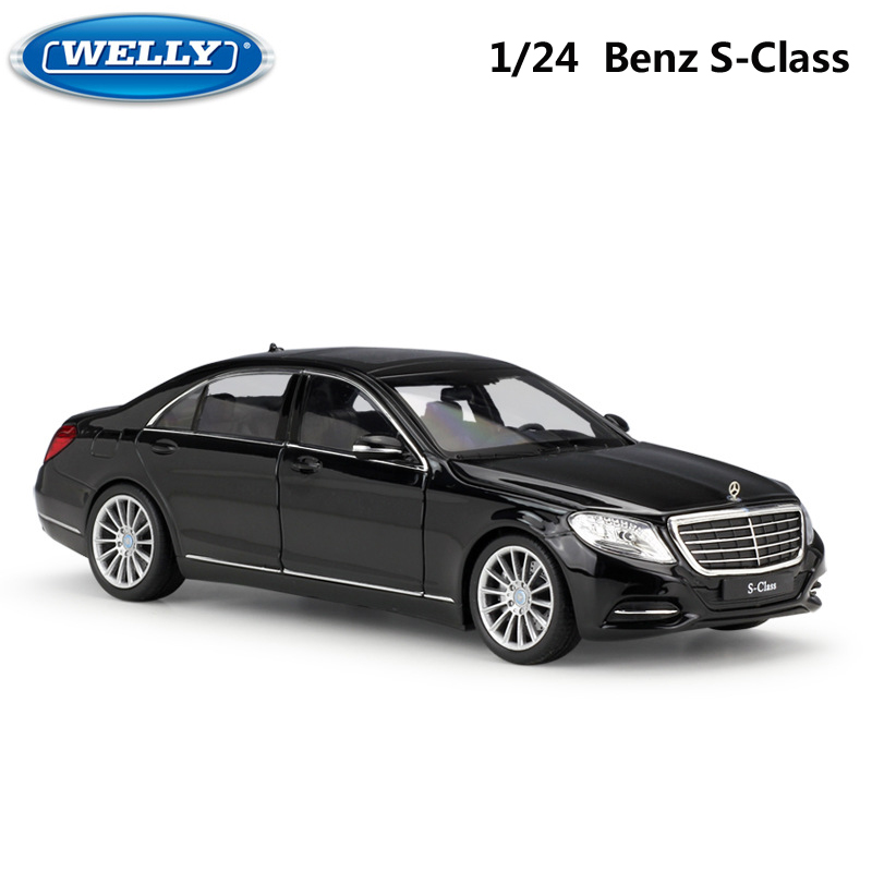 WELLY 1:24 Scale Simulator Model Car Benz S-Class Classic Diecast Car Metal Alloy Car Toys For Children Gift Toy Car Collection