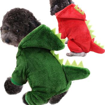 Corals Fleece Dinosaur Transformation Hoodie Pet Cat Warm Four-legged Dog Clothes image