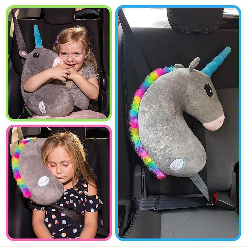 Unicorn Baby Kids Adjustable Car Seat Head Pillow Neck Protection Safety Headrest Support Pillow Safety Belt Sleeping Pillow