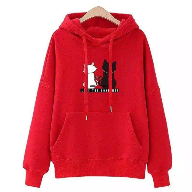 Streetwear Hoodies Women Sweatshirt Autumn Long Sleeve Hoodies Harajuku Hoodie Cute Cat Print Sweatshirt Women Sudadera Mujer 3