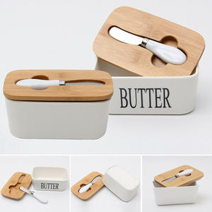 Dreamburgh Butter Box Nordic Ceramic Container Storage Tray Dish Cheese Food Tool Kitchen Keeper Wood Cover Sealing Plate+ Knife