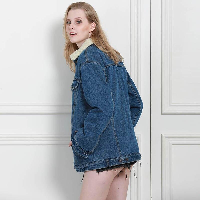 Autumn Winter Women Denim Fancy Jacket Slim Long Sleeve Knit Denim Stretch Denim Washed Blue Female Lady Coat