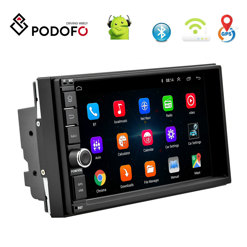 Podofo Android 8.1 <font><b>Car</b></font> Multimedia Player Double <font><b>Din</b></font> <font><b>Car</b></font> <font><b>Radio</b></font> 7'' Touch Screen <font><b>GPS</b></font> Audio Wifi <font><b>Car</b></font> MP5 Player Support Mirror Link image