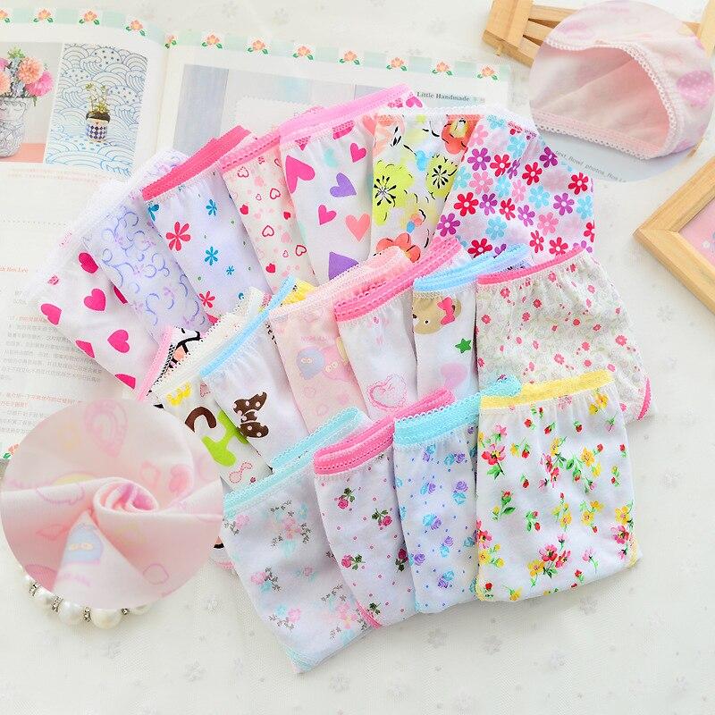 12Pc/Lot  Baby Girls Underwear Cotton Panties Kids Short Briefs Children Underpants 2-12Y