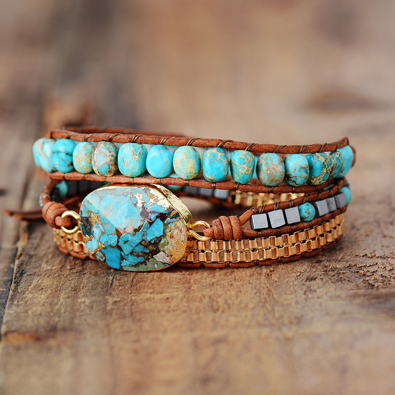 High End Leather Wrap Bracelet W/ Stones Vintage Weaving Statement Art Chain Bracelet Jewellery Gifts