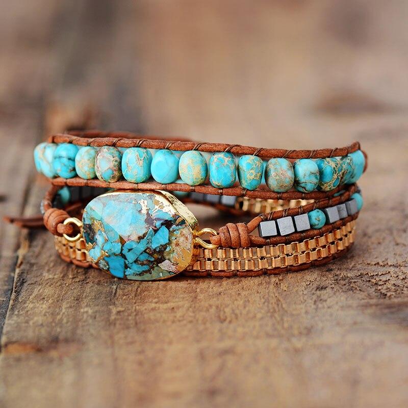 High End Leather Wrap Bracelet W/ Stones Vintage Weaving Statement Art Chain Bracelet Jewellery Gifts
