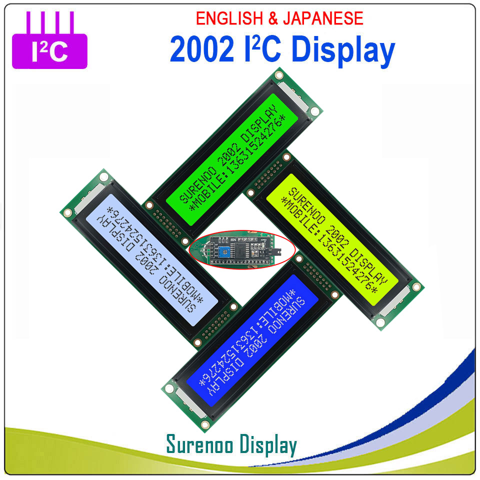 2002 202 20*2 English & Japanese Serial IIC I2C TWI Character LCD Module Display Yellow Green Blue W/ Backlight For Arduino