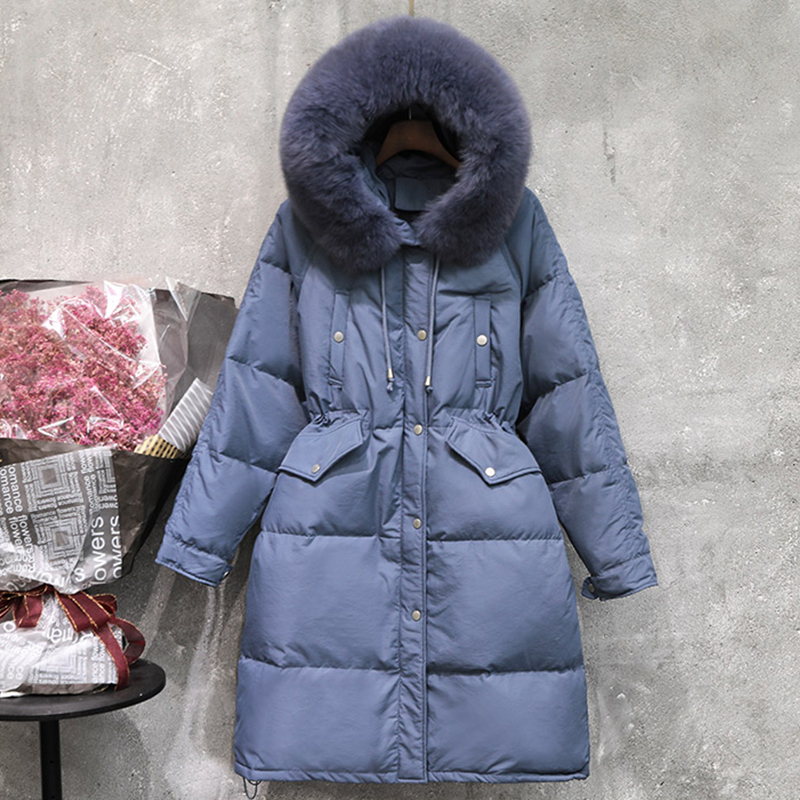 Large Natural Fox Fur Collar Hooded Long Down Parka Warm 90% White Duck Down Parka Female Sash Tie Up Thick Snow Coats