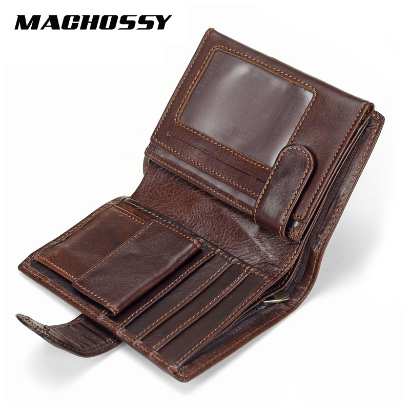 MACHOSSY Men Wallet Oil Wax Cowhide Genuine Leather Wallets Coin Purse Clutch Hasp Open Top Quality Retro Short Wallet 13.5cm