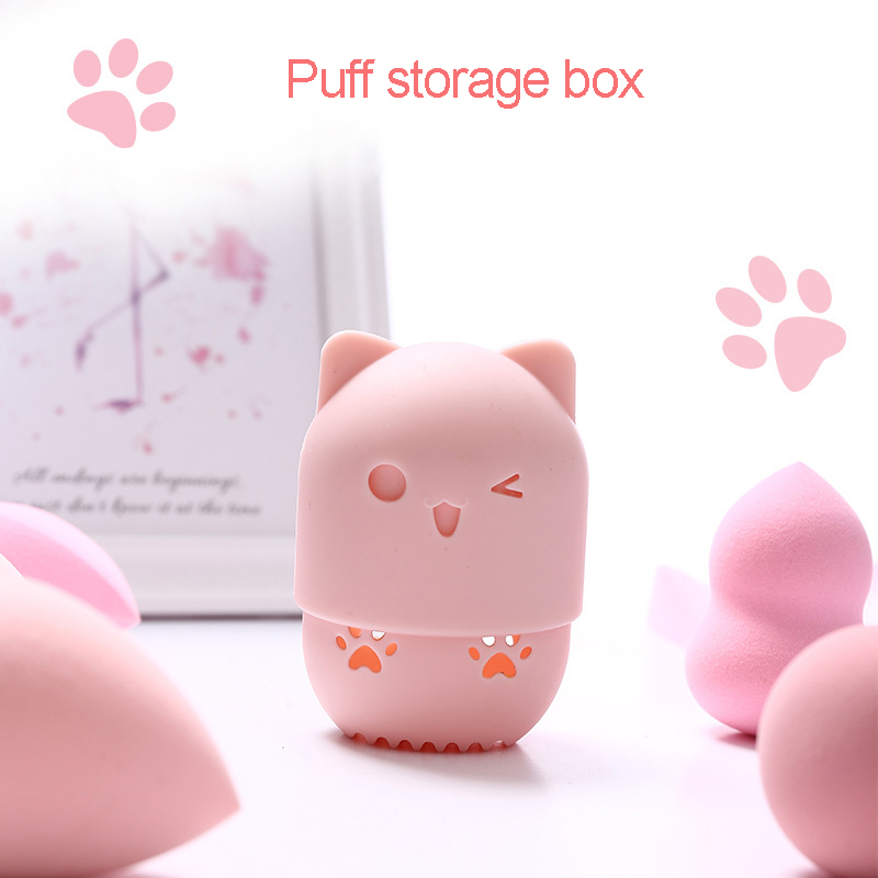 Kitten Silicone Beauty Sponge Storage Box Portable Soft Silicone Cosmetic Puff Case Makeup Accessories