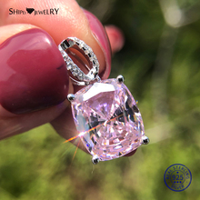 цена Shipei 100% 925 Sterling Silver Pink Sapphire Necklace Natural Sapphire Pendant Necklace Wedding Engagement Birthday Gift онлайн в 2017 году