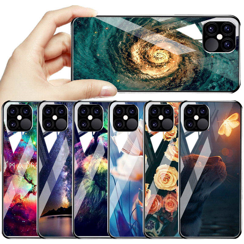 Luxury Star Space Tempered Glass Case For iPhone 12 Pro Max
