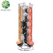 Duolvqi металлический держатель для кофейных капсул, железная Хромированная Подставка, хранение кофейных капсул, стойка для 18 шт капсул