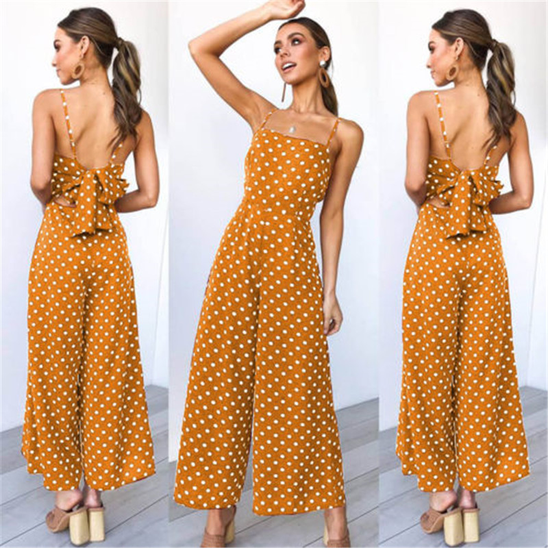 2020 New Women Polka Dot Jumpsuit Ladies Holiday Wide Legs Playsuit Rompers For Women One Piece Jumpsuit Ladies Casual Overalls