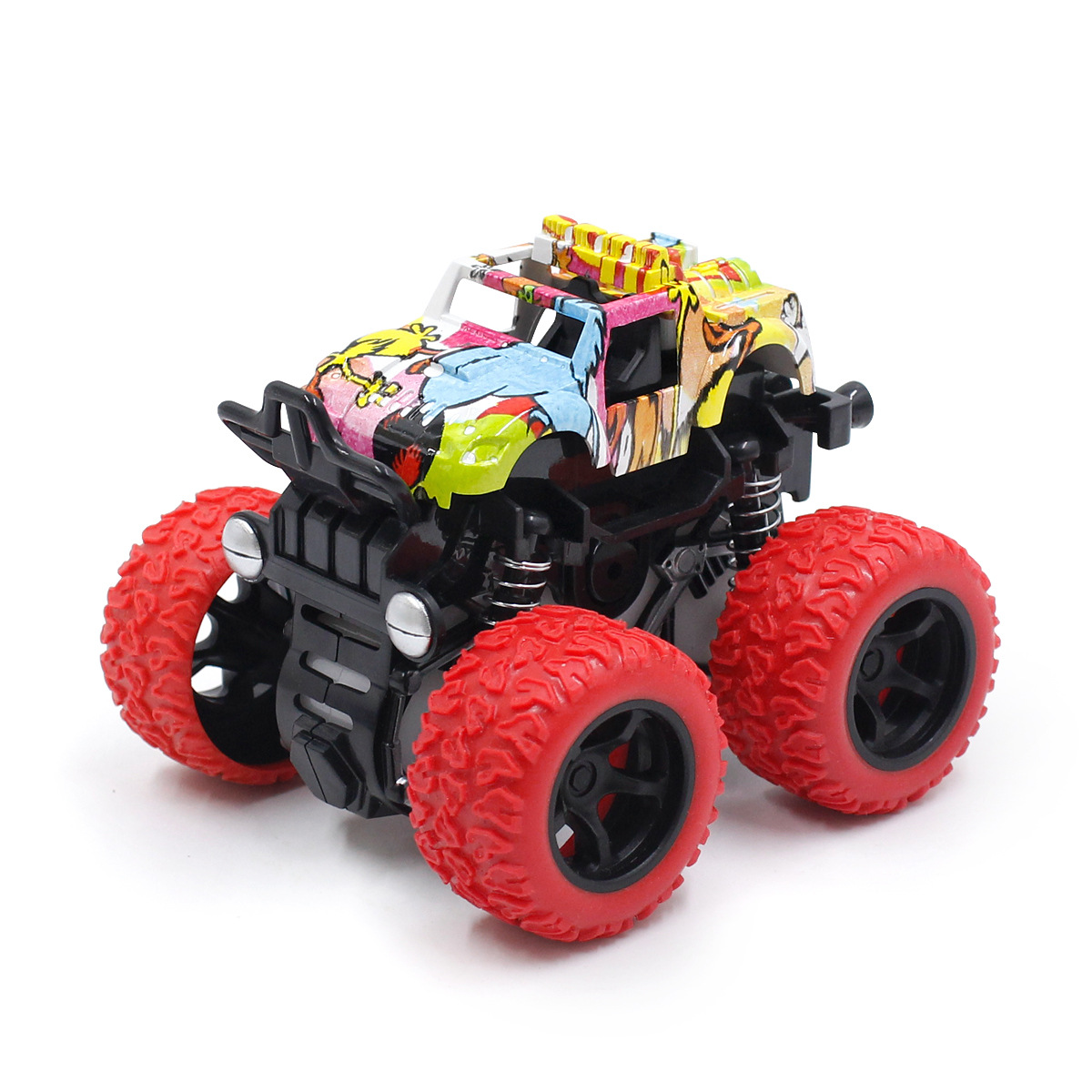Babe Duck CHILDREN'S Toy Car Cartoon Graffiti 4-Wheel Drive Double Inertia Monster Truck Spring Shock Absorption 360-Degree Flip