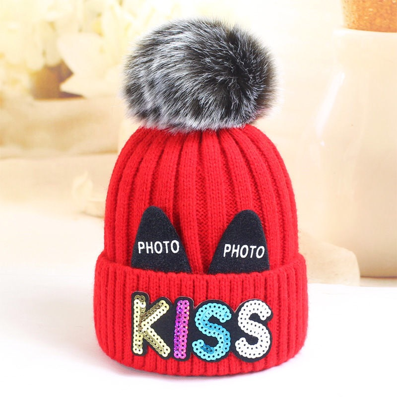 Warm Hats For Children In Autumn And Winter 1-3 Years Old Boy And Girl Baby Cute Kiss Pattern And Velvet Thick Pullover Hat Fash