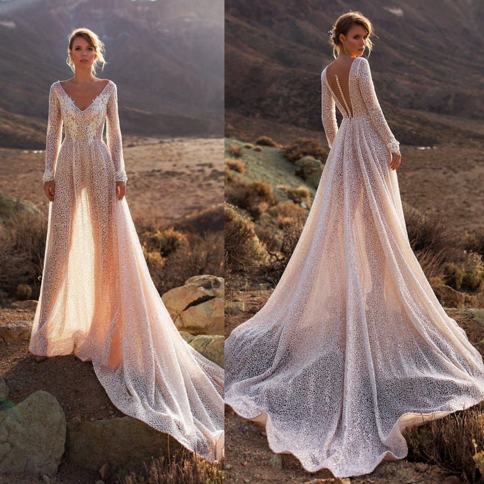 Bohemian Sparkly Wedding Dress 2020 Appliqued Beach Wedding Gowns V Neck Long Sleeve Luxury A Line Vestido De Noiva