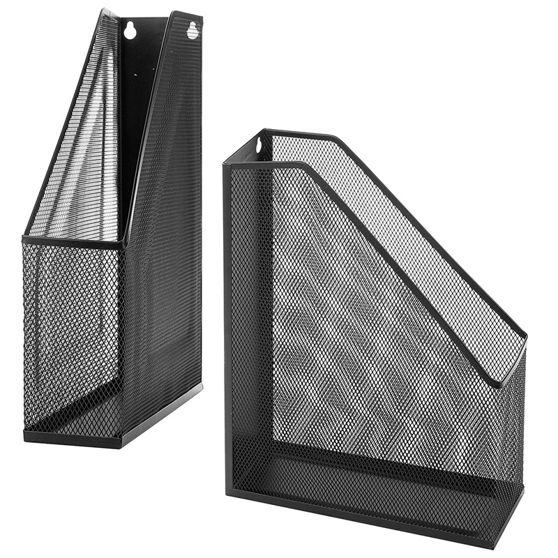 Wire Mesh Wall Mounted Or Freestanding File Holder, Magazine And Folder, Set Of 2, Black