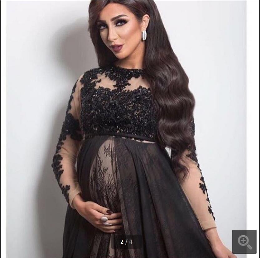 Dentelle noire Appliques Empire taille robes de soirée de maternité robes pure encolure ras du cou perles paillettes une ligne robes de soirée - 2